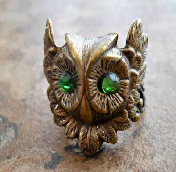 Mr Owl Enchanted Steampunk Brass Ring, Brass Owl Ring with Swarovski Eyes