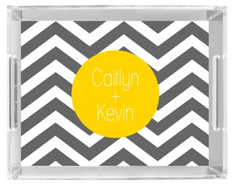 Lucite Serving Tray Personalized custom monogram tray in grey and yellow chevron