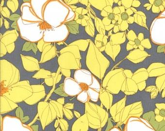 1 Yard Michael Miller LuLu Flowers in Citron Gray