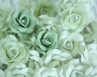 Miniature Roses Polymer Clay Flowers Supplies for Beaded Jewelry 12 pcs. in shade of Green, 3 tones