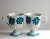 Vintage Footed Coffee Mugs with Blue Flowers - Daisy Japan - Set of Two