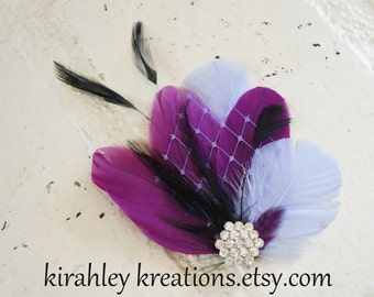 Lavender Berry Plum Fuchsia Purple Black Feather Hair Clip Bride Bridesmaid Wedding Prom Fascinator LEIA Headpiece Birdcage Veil Rhinestone