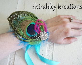 Turquoise Lime Hot Pink Peacock Feather Wristlet Rhinestone Bride Bridesmaids Prom LEHANNA Corsage Bracelet Cuff Customize In YOUR COLORS