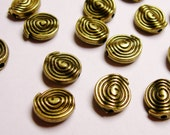 Brass color beads hypoallergenic- 24 pcs - round swrill engraved brass beads - NAZ24