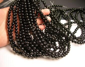 Jet Gemstone -  8 mm - 50 beads - full strand - A qulaity -  Genuine Jet