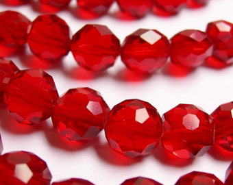 Crystal faceted oval round - 50pcs -  9 mm - AA quality - red  -18 inch strand