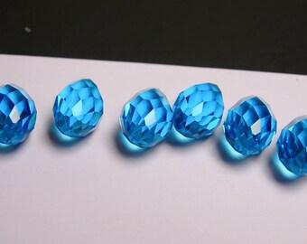 Faceted teardrop crystal briolette beads - 6 pcs - 18mm by 10mm - top sideways drill - aqua blue