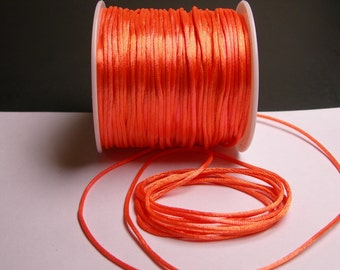 Satin Rattail Cord - knotting/beading cord -1.5mm - 65 meter - 213 foot - vivid peach orange color SSC12