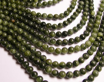 Serpentine jade -  6mm - round  - A quality  - 65  beads - full strand