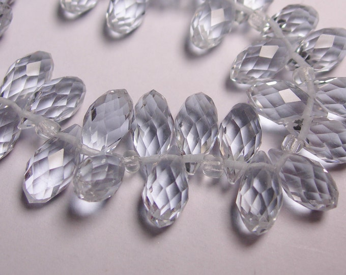 Faceted teardrop crystal briolette beads - 24 pcs - 12mm by 6mm - top sideways drill - ice blue - purple