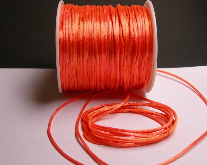 Satin Rattail Cord - knotting/beading cord -1.5mm - 65 meter - 213 foot - vivid peach orange color SSC12
