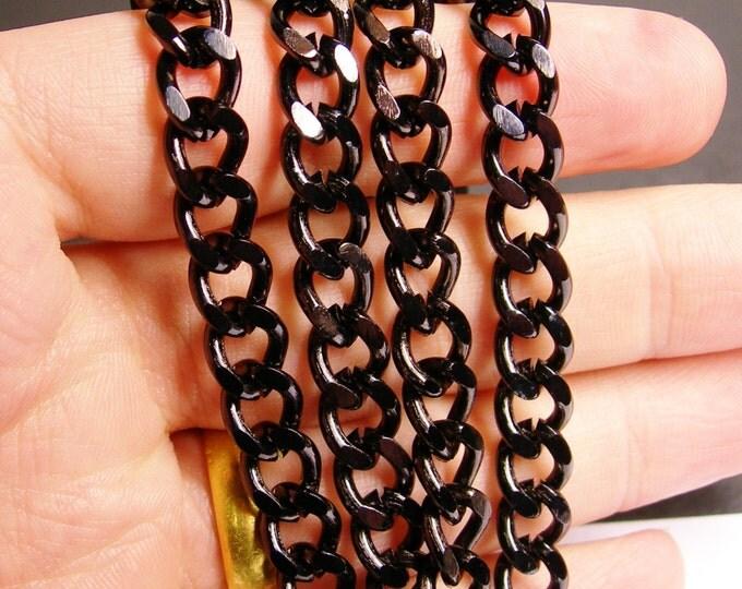 Black aluminium chain - lead free nickel free won't tarnish - 1 meter - 3.3 feet - Black curb chain - tac3