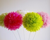 Set of 6 stemmed tissue paper pom poms, ready to open, choose your colors