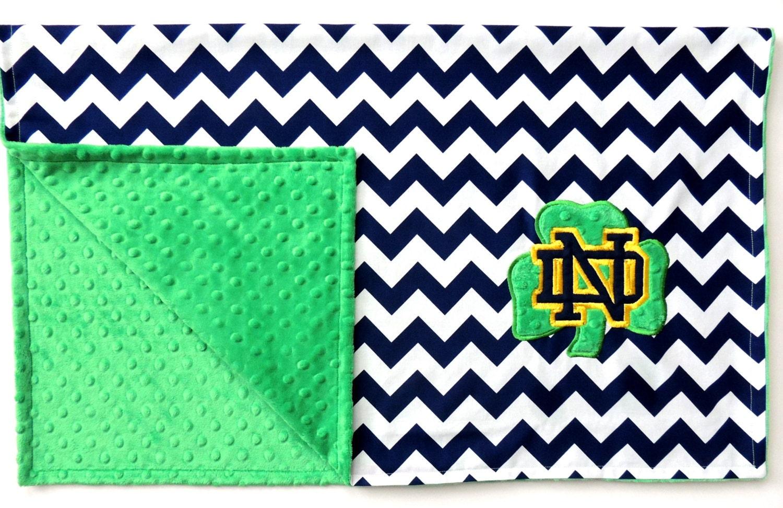 Notre Dame Embroidered Minky Dot Blanket