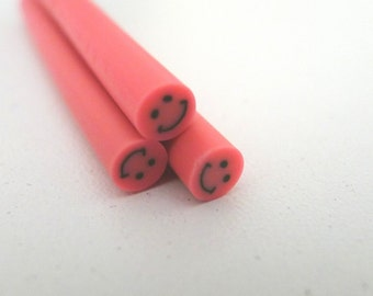 S187 Smiley Face (Hot Pink) - Polymer Clay Cane for Miniature Food Deco and Nail Art