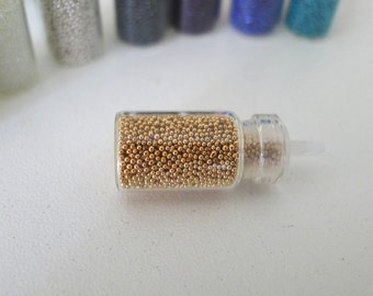 Fake Sugar Sprinkles / Micro Marbles (Sparkling Gold) - for Miniature Food Deco and Nail Art