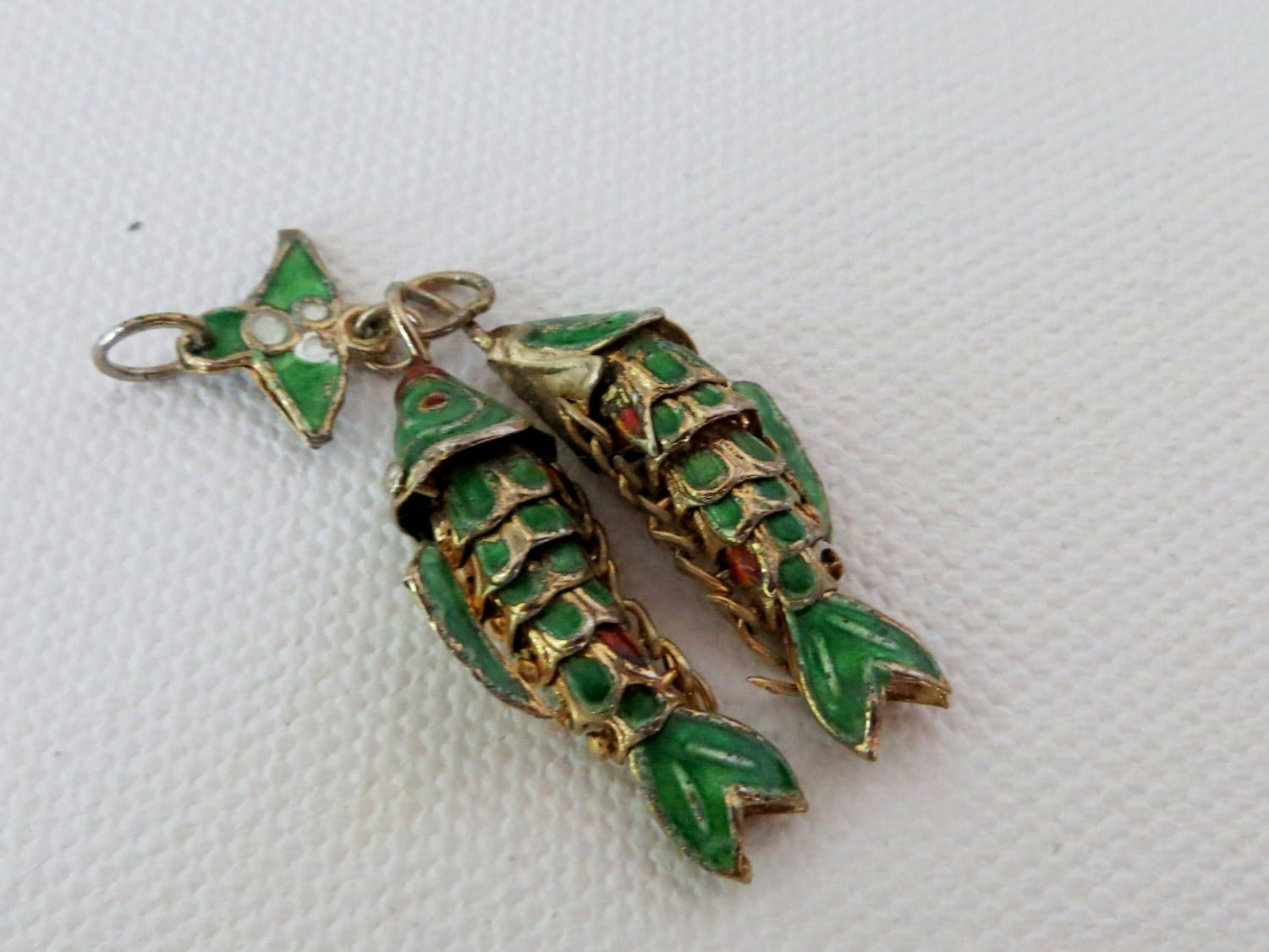 chinese double koi fish pendant vintage emerald by