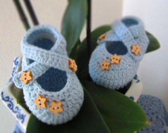 Stars Light Blue Cotton Crochet Baby Booties - 6-9 Mos- Ready to Ship
