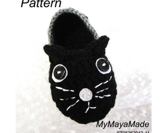 Crochet Pattern - Black Cat Crochet Baby Booties PDF Pattern - BT05262013-11 - Instant Download