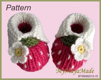 Knitting Pattern - White Daisy Hot Pink Booties for Women Size PDF Pattern - BT06082013-15 - Instant Download