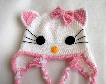 Light Pink Crochet Kitty Hat -Crochet Baby  Hat-Baby Girl Hat