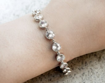Crystal bridal bracelet, simple tennis bracelet with rhinestone links - ready to ship
