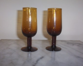 Vintage Amber Miniature Wine Glasses or Goblets