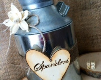 Rustic Milk Can Sparklers Holder or Honeymoon Fund  Vase-fully customizable