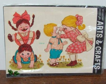 Vintage Meyercord Home Decor Window Decal Sheet 1701-F Children Playing