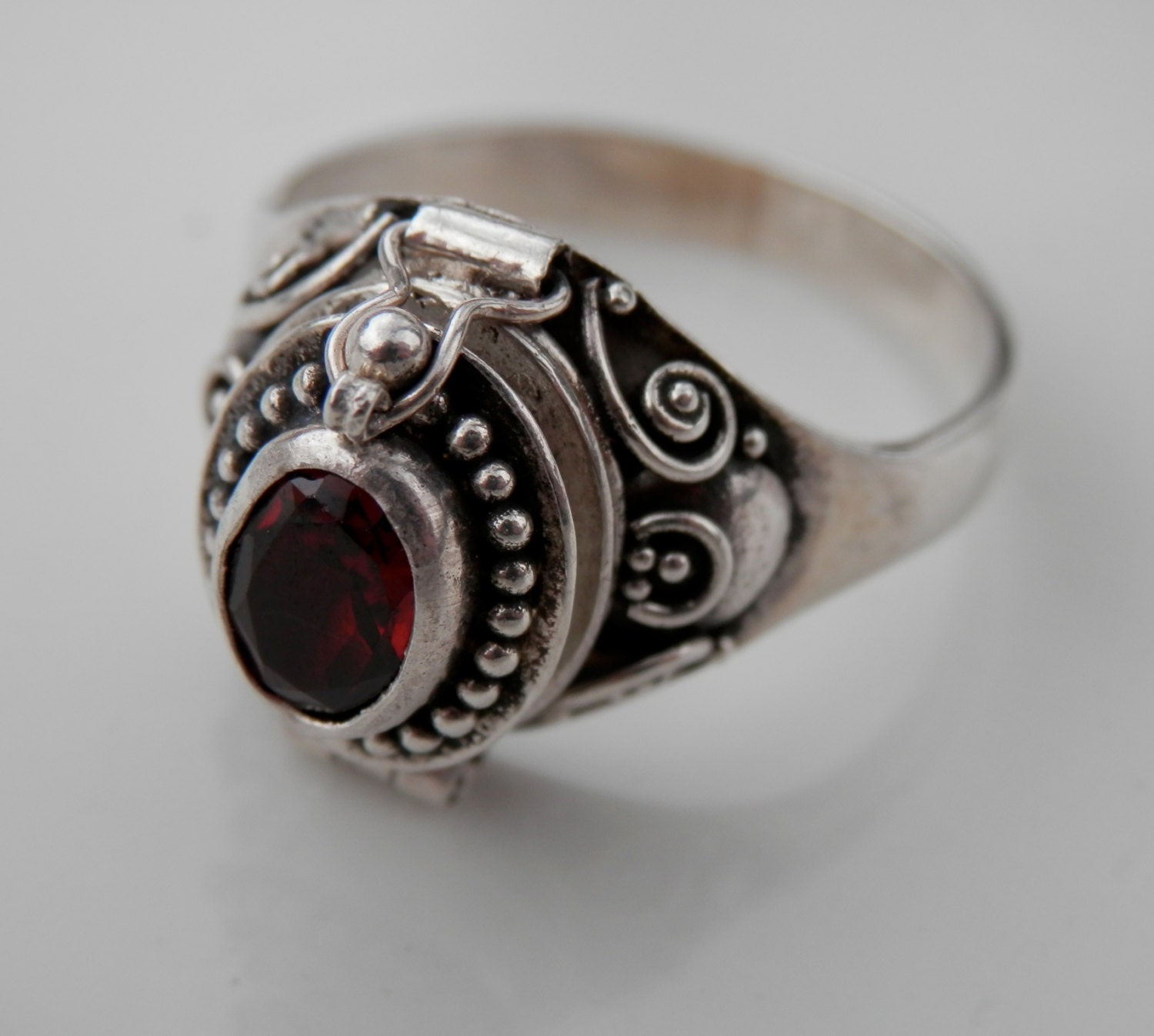 Vintage Garnet Poison Ring Sterling Silver 925 By