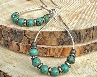Turquoise and Silver Hoop Earrings, Blue Green Hoop Jewelry