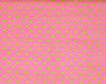 Green Polka Dots on Pink Corduroy Fabric