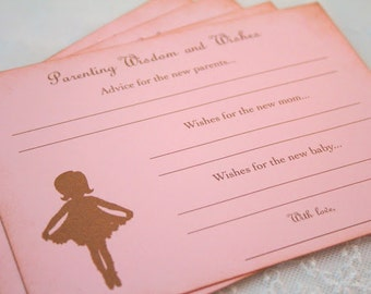 Parenting Advice Cards Ballerina Baby Shower Activity Game Cards Baby Wishes