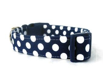 Navy Blue Polka Dot Dog Collar