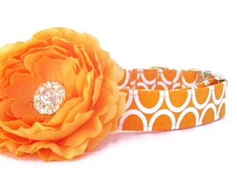 Orange Flower Dog Collar Wedding Dog Collar  - Nickel Hardware - Circles On Orange with Flower Accessory