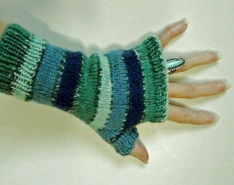 Fingerless Gloves HandKnit Gloves Handmade Knitting Fine Acrylic Knit Coastal Colors Blue Knit Gloves Fingerless Style Handmade Gloves