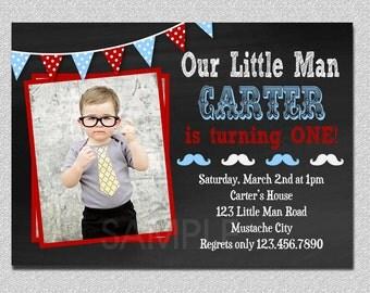 Little Man Invitation, Little Man Birthday Invitation, Little Man Party, Mustache Invitation, Bow Tie Birthday Invitation, Kids Invitations