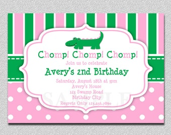 Preppy Alligator Birthday Invitation Pink and Green Preppy Alligator Birthday Invitations Girls or Boys
