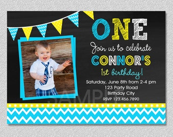 Chalkboard Birthday Invitation , Chevron Chalkboard Boys Birthday Invitation