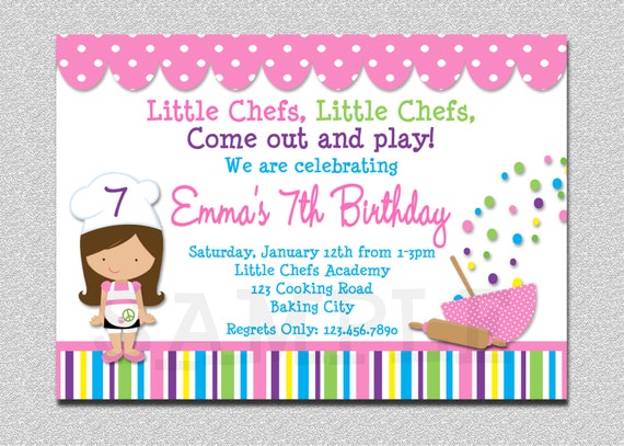 Cooking Birthday Party Invitation Cooking Baking Birthday Party Invitations Printable