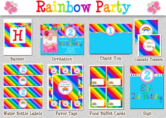 Items similar to Rainbow Birthday Party Package , Rainbow ...
