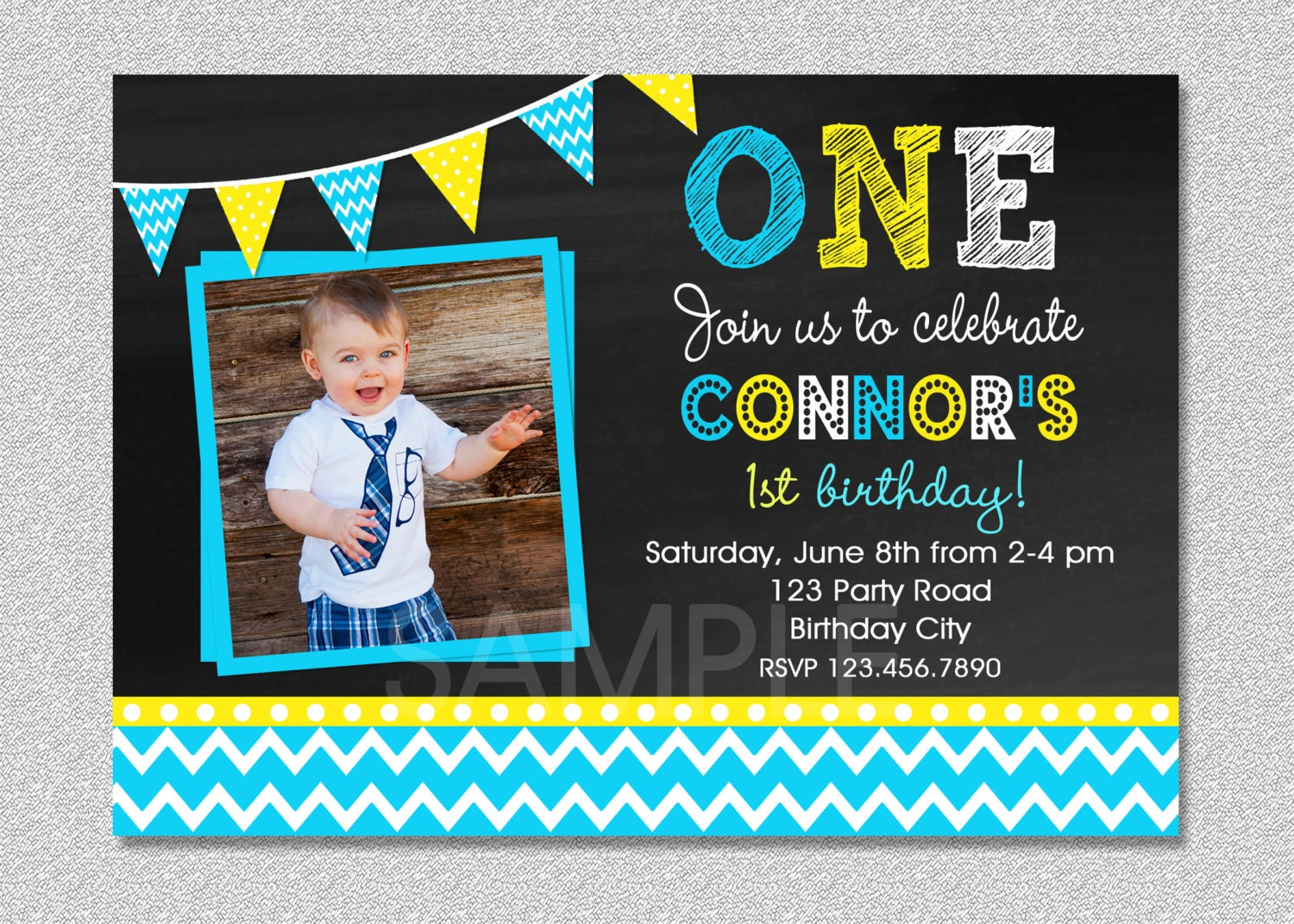 Chalkboard Birthday Invitation Chevron Chalkboard Boys