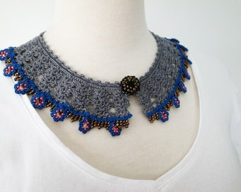Crochet Lace Collar (Beaded Lace Collar II-a), gray, blue, brown