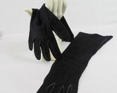 Landel Real Kid Gloves, Size 6 1/2, Dark Blue, Made in France, 14 Inches Long