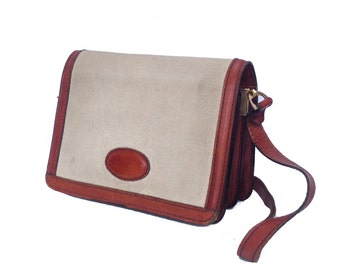 Polly, French Vintage, Tan Leather Trimmed Satchel, 1970s Messenger Handbag from Paris