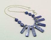 Superb Silver Blue Kyanite & Sterling Silver Necklace - N469