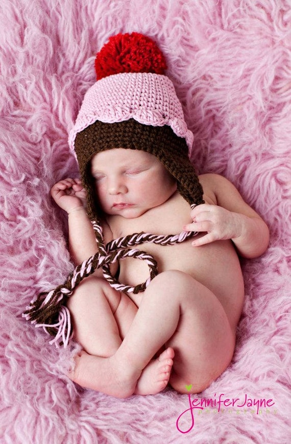 Instant Download PDF crochet pattern pink cupcake hat with earflap-  sizes 0-3 month only-etsy