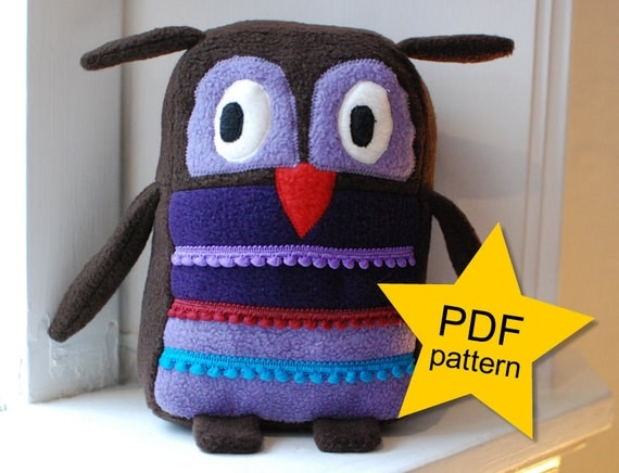 Stuffed animal owl pdf pattern sewing