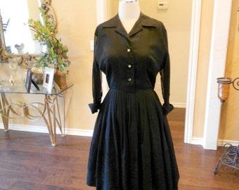 50s Black Rockabilly Dress / 1950s Full Skirt Dress / 1950s Black Party Dress / Size 6
