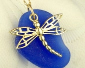 Fine Jewelry Gold Dragonfly Necklace On GENUIINE Cobalt Blue Sea Glass 14 Karat Gold
